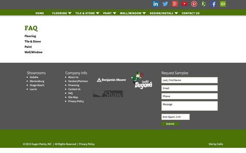 Screenshot of FAQ Page duganpaints.com - FAQ | Dugans Paint - captured Nov. 24, 2016