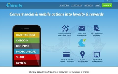 Screenshot of Home Page chirpify.com - Social & Mobile Loyalty & Rewards - captured Dec. 13, 2014