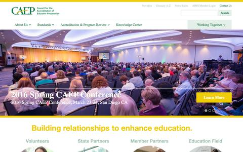 Screenshot of Home Page caepnet.org - Council for the Accreditation of Educator Preparation - captured Jan. 31, 2016