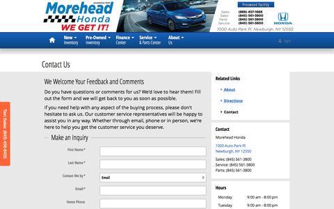 Screenshot of Contact Page moreheadhonda.com - Morehead Honda | New Honda dealership in Newburgh, NY 12550 - captured Dec. 22, 2016