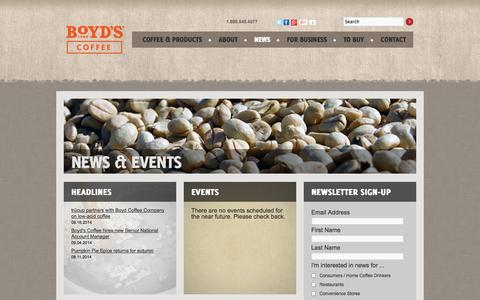 Screenshot of Press Page boyds.com - News & Events   Boyd Coffee Company    Coffee, tea, beverages and equipment - captured Sept. 19, 2014