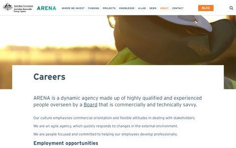 Screenshot of Jobs Page arena.gov.au - Careers - Australian Renewable Energy Agency - captured June 27, 2017