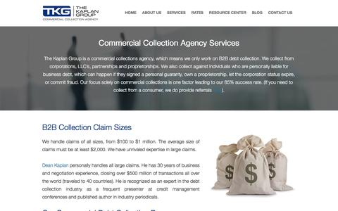 Screenshot of Services Page kaplancollectionagency.com - Debt Collection Agency Services - captured Feb. 15, 2016