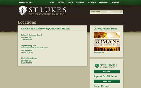 Screenshot of Locations Page stlukes-oviedo.org - St. Luke's Lutheran Church - Oviedo, Florida - St. Luke's Lutheran Church - Oviedo, Florida - Directory - captured Oct. 6, 2014
