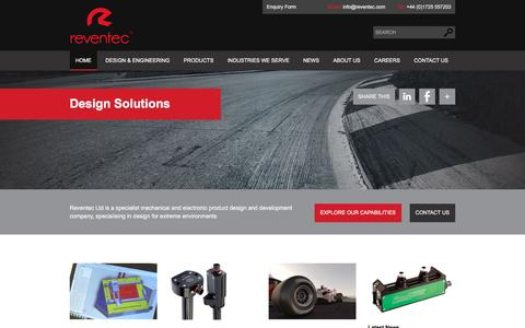 Screenshot of Home Page reventec.com - Custom Sensors & Electronics for Harsh Environments | Reventec - captured Feb. 25, 2016