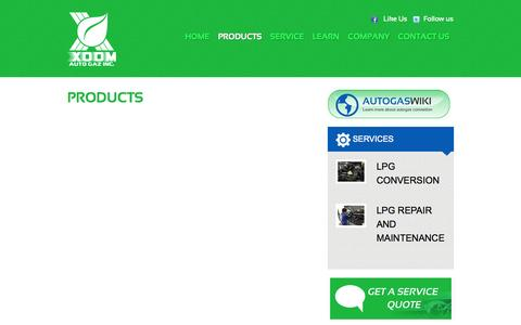 Screenshot of Products Page xoomautogaz.com - PRODUCTS - Xoom Auto Gaz | Xoom LPG - Xoom Auto Gaz | Xoom LPG - captured Oct. 9, 2014