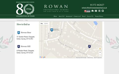 Screenshot of Maps & Directions Page rowanprepschool.co.uk - Rowan Preparatory School > Contact Us > Map - captured May 7, 2016