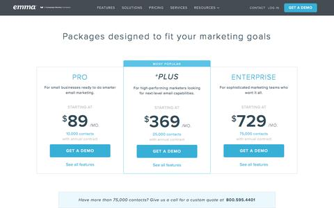 Screenshot of Pricing Page myemma.com - Emma Email Pricing | Emma Email Marketing - captured July 17, 2018