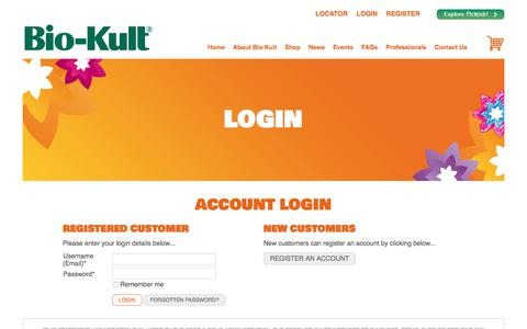 Screenshot of Login Page bio-kult.com - Account Login - Bio-Kult - captured Oct. 8, 2017