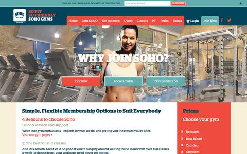 Screenshot of Signup Page Pricing Page sohogyms.com - Why join Soho? – Soho Gyms London - captured Oct. 19, 2016