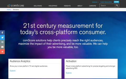 Screenshot of Products Page comscore.com - Products - comScore, Inc - captured Oct. 28, 2016