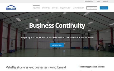 Screenshot of mahaffeyusa.com - Business Continuity - captured March 20, 2016