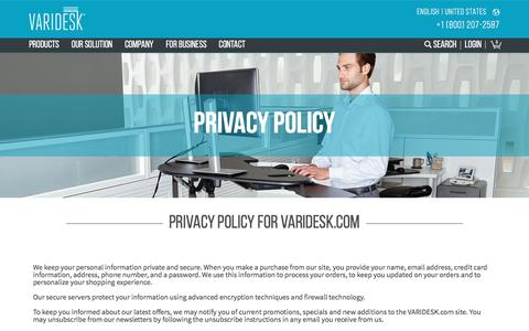 Screenshot of Privacy Page varidesk.com - Privacy Policy - captured April 2, 2017