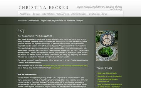 Screenshot of FAQ Page cjbecker.com - FAQ - Christina Becker - Jungian Analyst, Psychotherapist and Professional Astrologer | Christina Becker -  Jungian Analyst, Psychotherapist and Professional Astrologer - captured Oct. 6, 2014