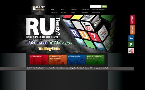 Screenshot of Home Page brantcountypower.com - Home | Brant County Power Inc. - captured Oct. 5, 2014