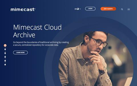 Screenshot of Home Page mimecast.com - Email Cloud Services in Security & Archiving | Mimecast - captured April 8, 2018