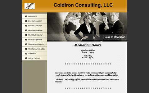 Screenshot of Hours Page coldironconsulting.com - Hours of Operation - captured Sept. 30, 2014