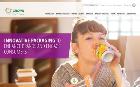 Screenshot of Home Page crowncork.com - Brand-Building Packaging | Crown - captured Nov. 3, 2015