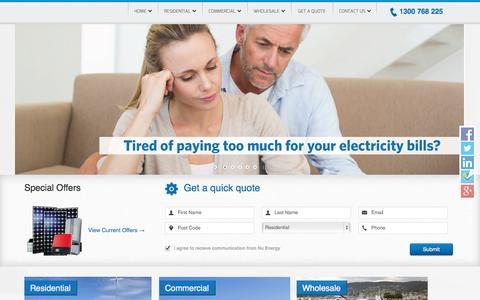 Screenshot of Home Page nuenergy.com.au - Nu Energy - Solar Power Experts - captured Oct. 7, 2014