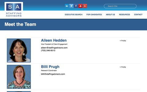 Screenshot of Team Page staffingadvisors.com - Meet the Team   Staffing Advisors - captured Sept. 21, 2018