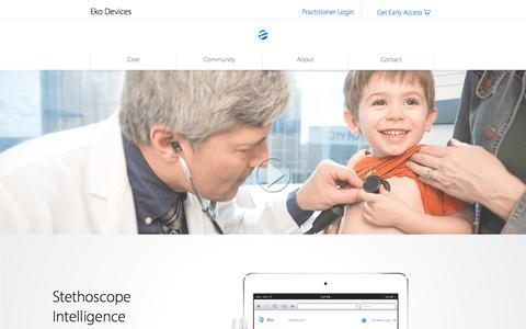 Screenshot of Home Page ekodevices.com - Eko | Digital Stethoscope - captured July 3, 2015
