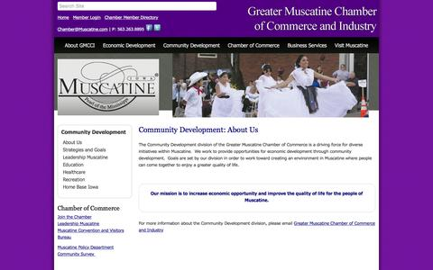 Screenshot of About Page muscatine.com - About Us - Greater Muscatine Chamber of Commerce & Industry, IA - captured Nov. 15, 2016
