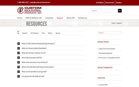 Screenshot of Support Page customindprod.com - Support   Custom Industrial Products, Inc. - captured Oct. 3, 2014