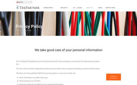 Screenshot of Privacy Page tekpartner.dk - Privacy - TekPartner - captured Sept. 20, 2018