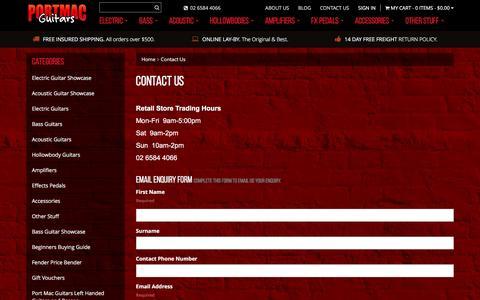 Screenshot of Contact Page portmacguitars.com.au - Contact Us - captured Jan. 15, 2016