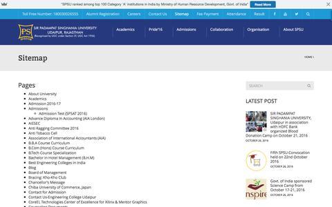 Screenshot of Site Map Page spsu.ac.in - Sitemap - Sir Padampat Singhania University, Udaipur, Rajasthan - captured Nov. 19, 2016