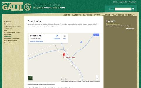 Screenshot of Maps & Directions Page campgalil.org - Directions | Camp Galil - captured Oct. 1, 2014