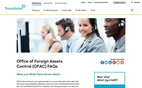 Screenshot of Support Page transunion.com - Office of Foreign Assets Control (OFAC) FAQs | TransUnion - captured Oct. 24, 2018