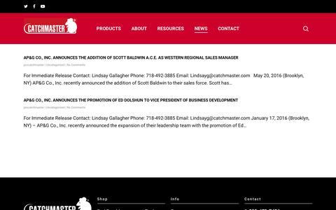 Screenshot of Press Page catchmasterpro.com - Newsroom - Catchmaster Pro - captured July 3, 2018
