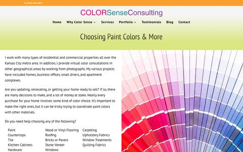 Screenshot of Services Page colorsenseconsulting.com - Choosing the Best Paint Colors for Your Kansas City Home or Office - captured Jan. 29, 2016