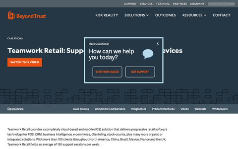 Screenshot of Case Studies Page beyondtrust.com - Teamwork Retail: Supports iOS Point-of-Sale Devices | BeyondTrust - captured Dec. 29, 2018