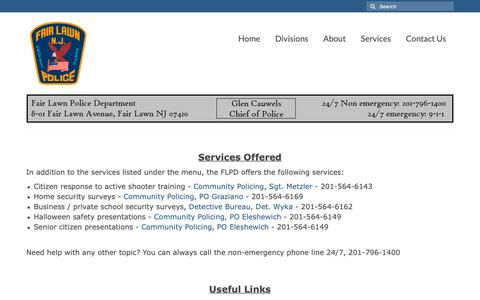 Screenshot of Services Page fairlawnpd.com - Services – Fair Lawn Police Department - captured Oct. 10, 2018