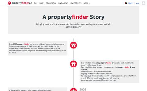 Screenshot of About Page propertyfinder.ae - propertyfinder.ae - UAE's #1 property site - captured April 8, 2018