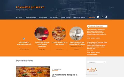 Screenshot of Blog cuisines-aviva.com - Cuisines Aviva : le blog tendances et déco pour votre cuisine - captured Jan. 16, 2016