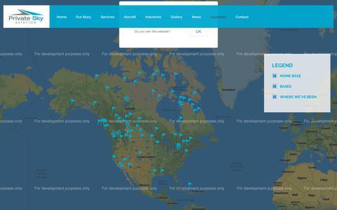 Screenshot of Locations Page privateskyaviation.com - Private Sky Aviation   – Locations - captured Sept. 29, 2018