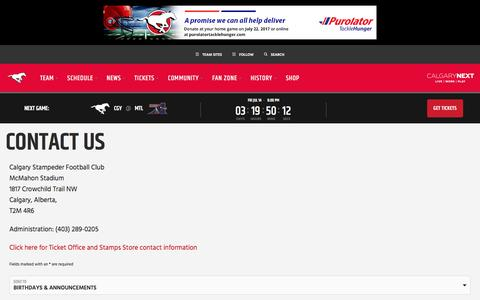 Screenshot of Contact Page stampeders.com - Contact Us - Calgary Stampeders - captured July 11, 2017