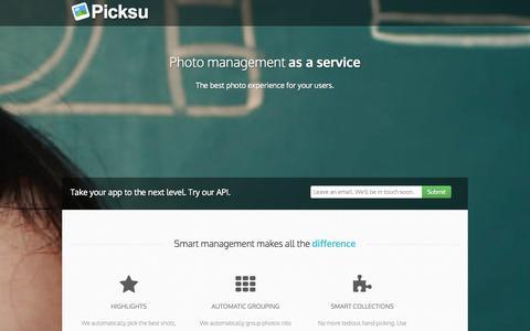 Screenshot of Home Page picksu.com - Picksu - Photo management as a service! - captured Sept. 29, 2014