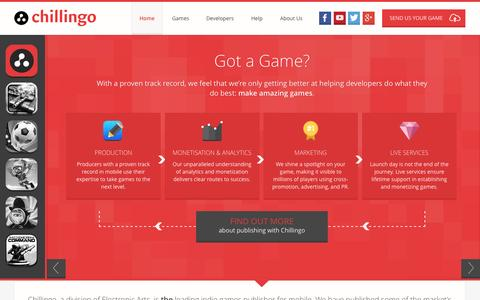 Screenshot of Home Page chillingo.com - Chillingo | Leading games publisher on mobile. A division of Electronic Arts. | Home - captured Sept. 24, 2014