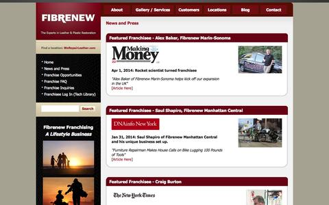 Screenshot of Press Page fibrenew.com - Fibrenew Franchisee News Stories & Press Articles - captured Oct. 10, 2014