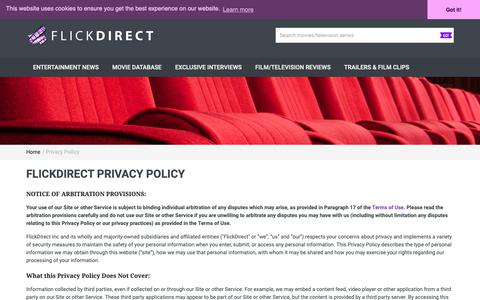 Screenshot of Privacy Page flickdirect.com - FlickDirect Privacy Policy, Movie News, Movie Database, Blu-ray Reviews, Celebrity Interviews | FlickDirect - captured Sept. 30, 2018