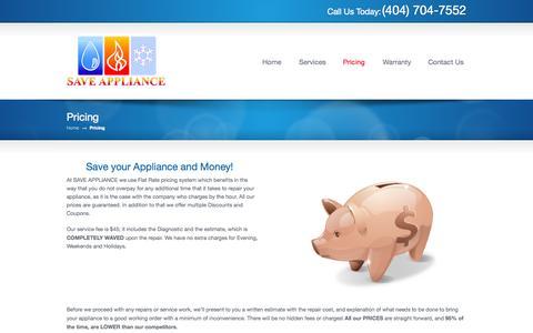 Screenshot of Pricing Page saveappliance.com - Pricing «  Appliance Repair Dacula, Buford, Alpharetta, Ga Save Appliance, LLC - captured Oct. 4, 2014