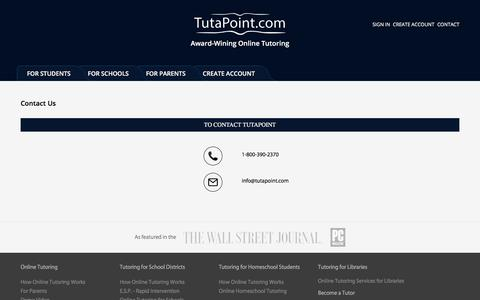 Screenshot of Contact Page tutapoint.com - Contact us to avail our Award Winning Online Tutoring Services - captured Sept. 24, 2018