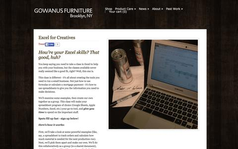 Screenshot of Signup Page gowanusfurniture.com - Gowanus Furniture Co. — Excel for Creatives - captured Feb. 1, 2016