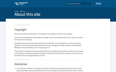 Screenshot of Privacy Page nzta.govt.nz - About this site  | NZ Transport Agency - captured Feb. 23, 2018