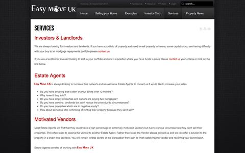 Screenshot of Services Page easymove-uk.com - Services | Easy Move UK - captured Sept. 27, 2014