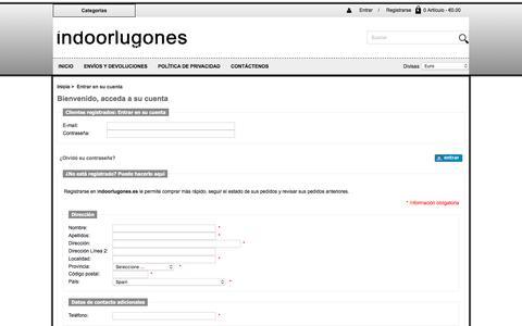 Screenshot of Login Page indoorlugones.es - Entrar en su cuenta :  Precio razonable España Shorts,España Skirts Despeje,España Trousers - captured April 28, 2018